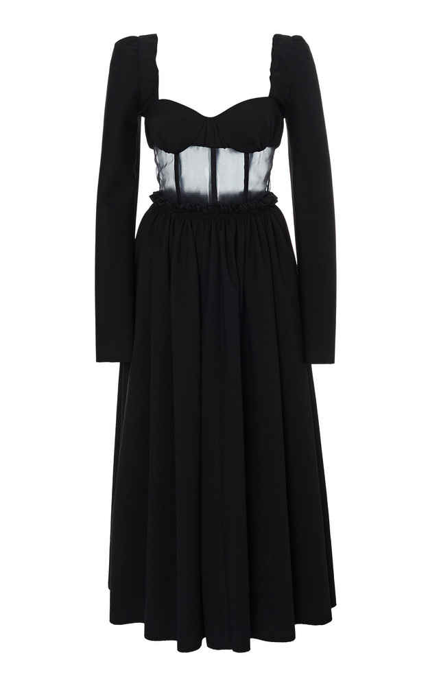 Rosie Assoulin Pleated Sheer-Paneled Cady Midi Dress in black