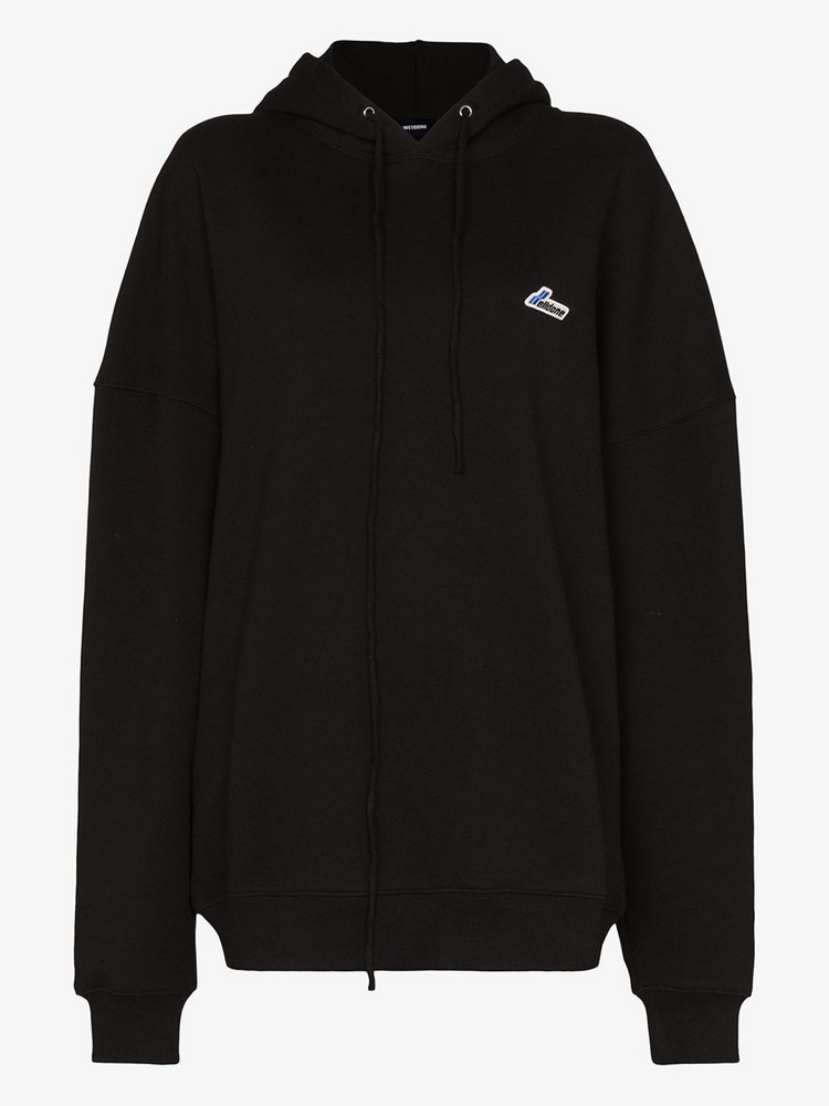 We11done Logo embroidered hoodie in black
