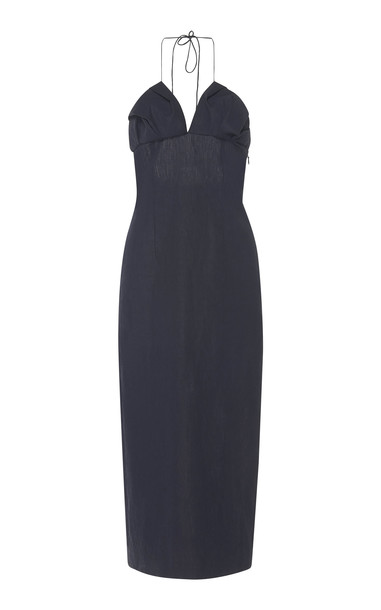 Jacquemus Bambino Linen Midi-Dress in navy