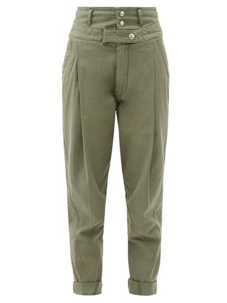 Frame - High-rise Cotton Military Trousers - Womens - Khaki