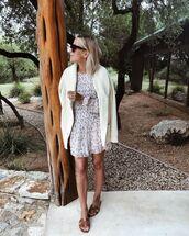 dress,white dress,floral dress,mini dress,slide shoes,white cardigan