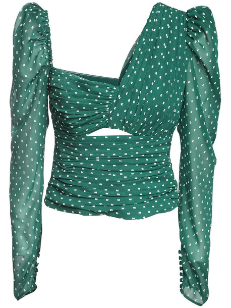 SELF-PORTRAIT Asymmetric Ruched Plumetis Top in green