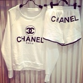 sweater,chanel,white,shorts,shirt,belt,hair accessory,chanel inspired,top,chanel sweater,logo