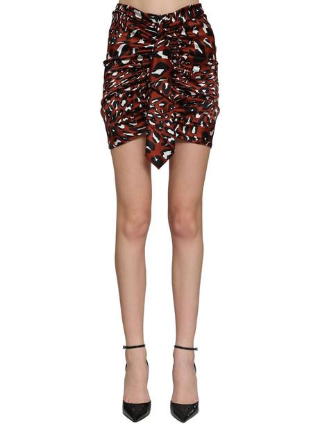 ALEXANDRE VAUTHIER Printed Stretch Satin Draped Mini Skirt