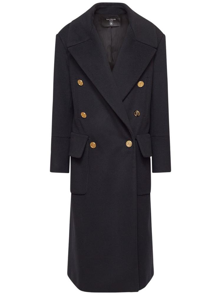BALMAIN Wool Blend Double Breasted Long Coat in black