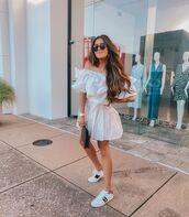 dress,mini dress,ruffle dress,white sneakers,bag