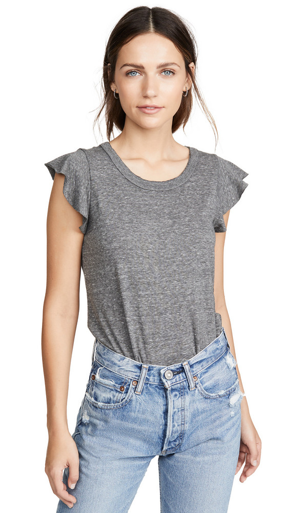 Chaser Flutter Sleeve Shirttail Tee in grey