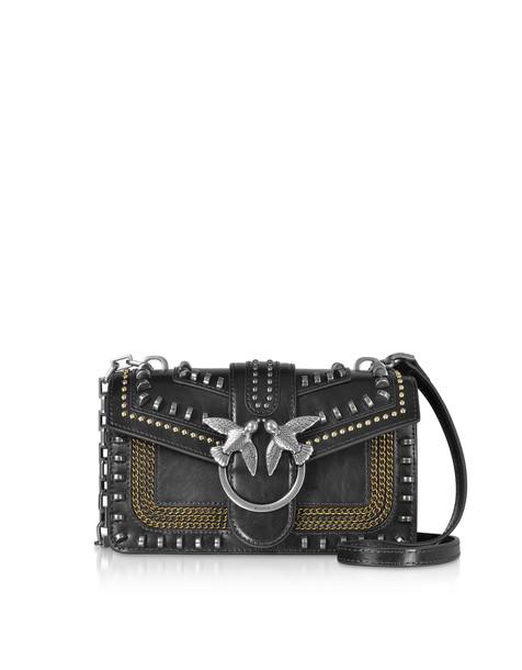 Pinko Mini Love Mix Crossbody Bag W/ Studs in black