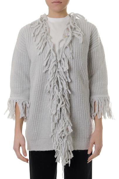 Dondup Grey Alpaca % Merino Wool Fringed Cardigan