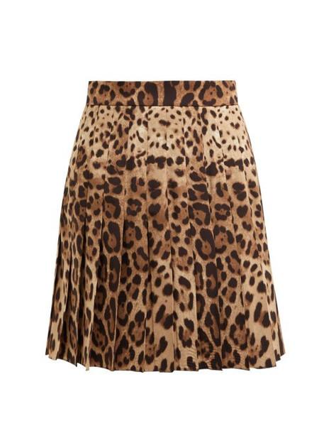 Dolce & Gabbana - Leopard Print Wool Blend Pleated Skirt - Womens - Leopard