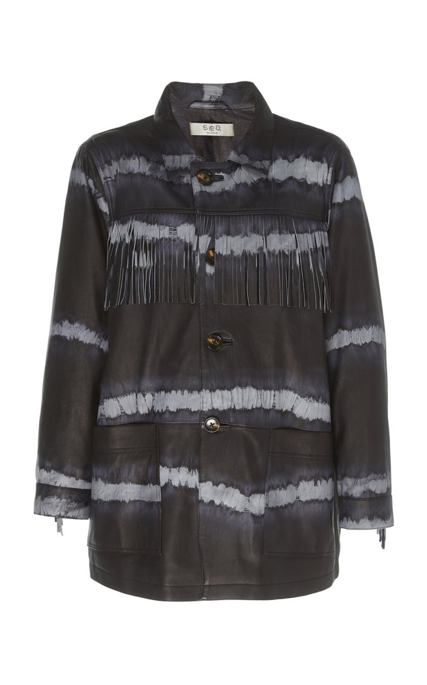 Sea Fringed Tie-Dyed Leather Jacket Size: S in navy
