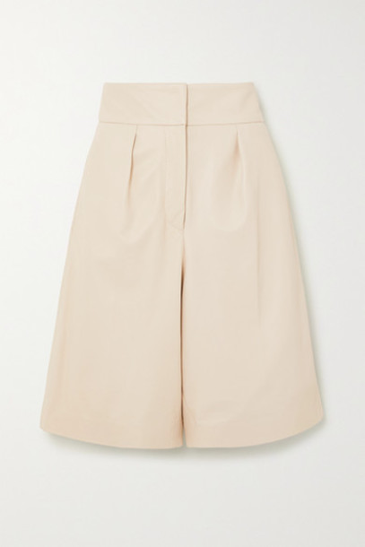 Brunello Cucinelli - Pleated Leather Shorts - Beige