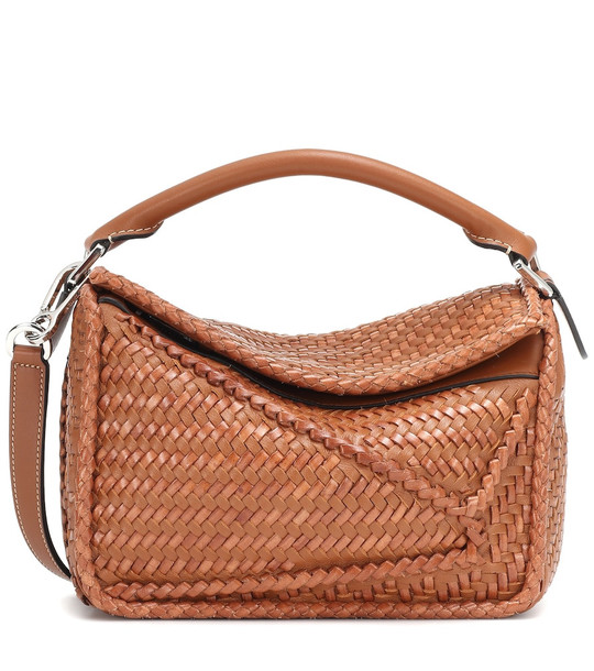Loewe Puzzle woven leather shoulder bag in brown