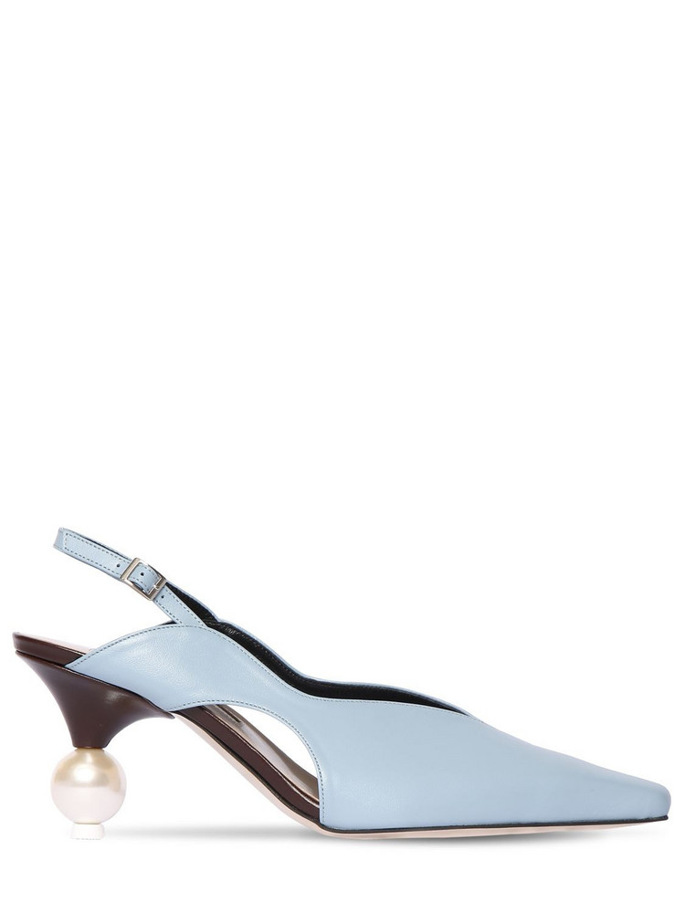 YUUL YIE 70mm Leather Sling Back Pumps in blue