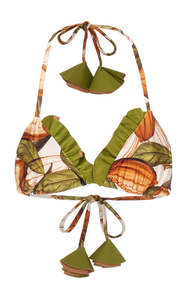 Agua de Coco Ruffled Printed Triangle Bikini Top Size: S in print