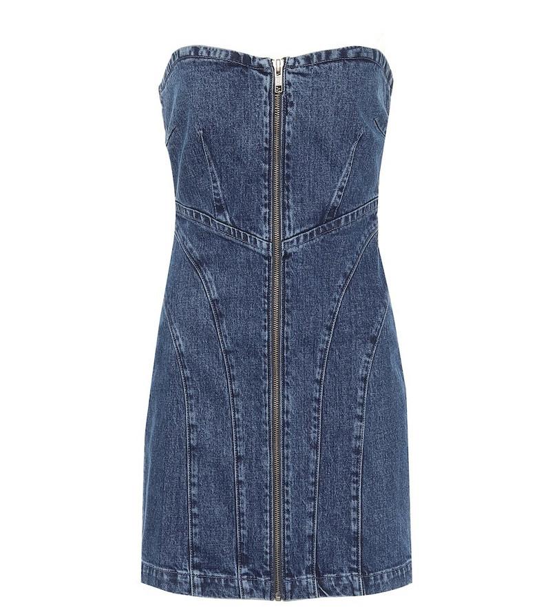 Grlfrnd Isabella zip-up denim minidress in blue