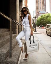 bag,ysl bag,pumps,skinny jeans,high waisted jeans,cropped jeans,white shirt
