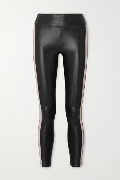 Koral - Dynamic Duo Infinity Mesh-trimmed Stretch Leggings - Black