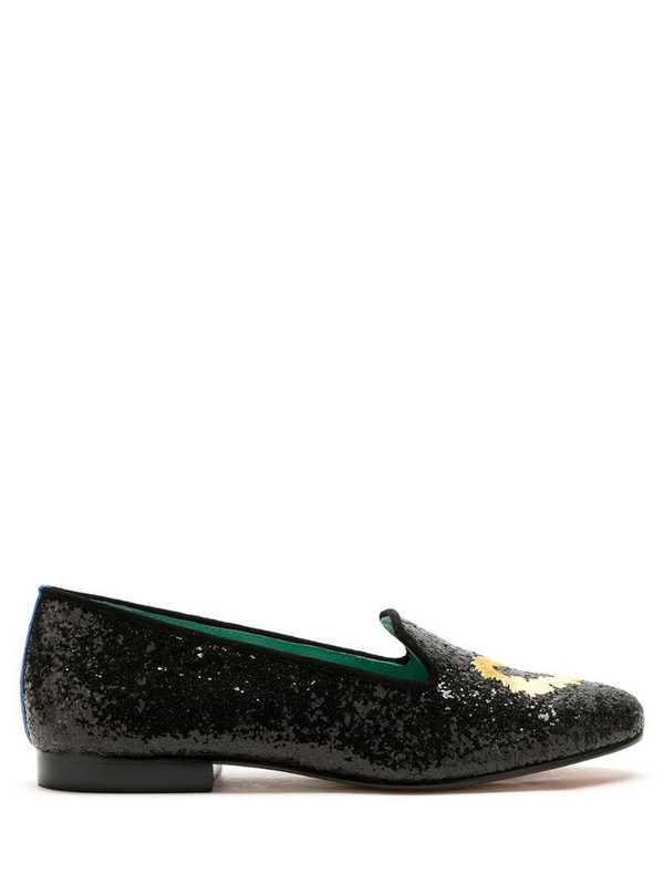 Blue Bird Shoes Spicy Love glitter loafers in black