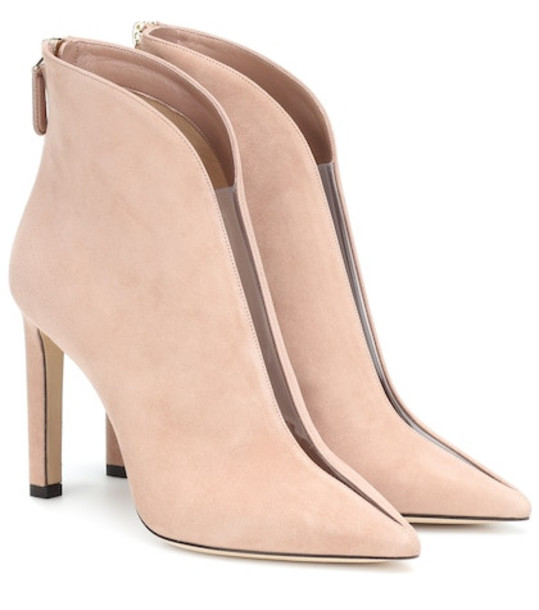 Jimmy Choo Bowie 100 suede ankle boots in pink