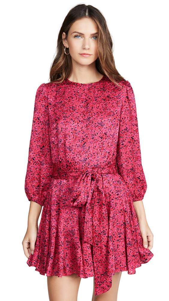 alice + olivia alice + olivia Mina Puff Sleeve Godet Dress with Belt in pink / multi