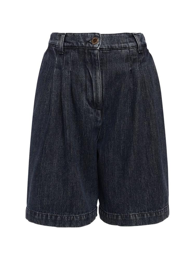 ALBERTA FERRETTI Cotton Denim Bermuda Shorts in blue