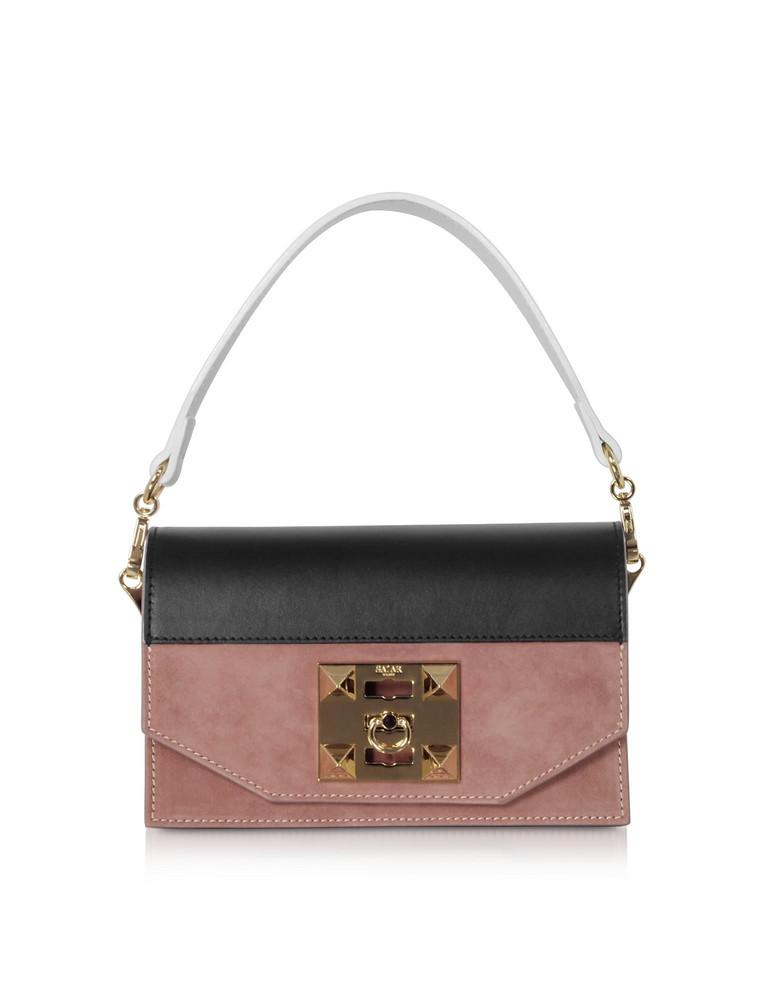 Salar Kio Color Block Leather Shoulder Bag in black