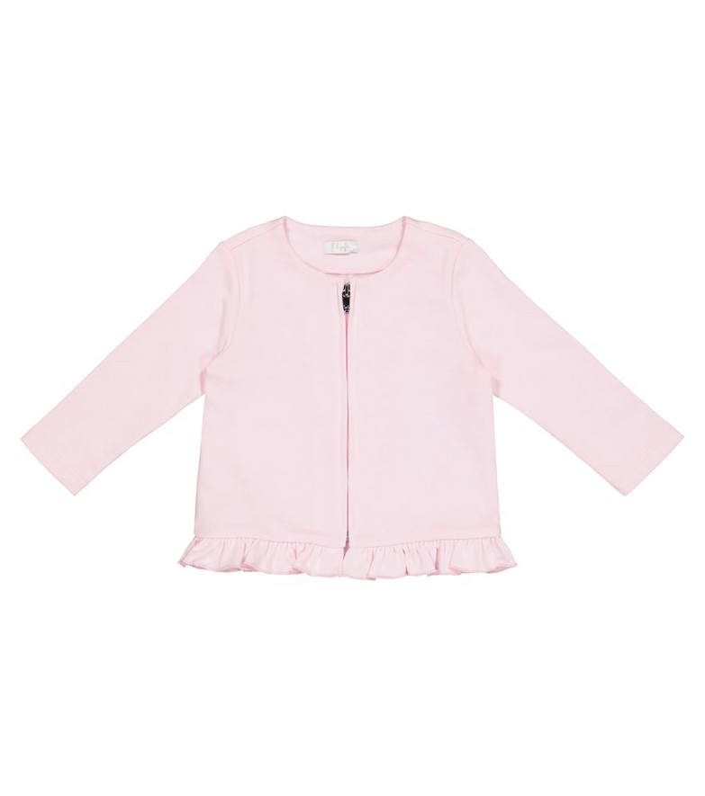 Il Gufo Baby cotton jersey cardigan in pink