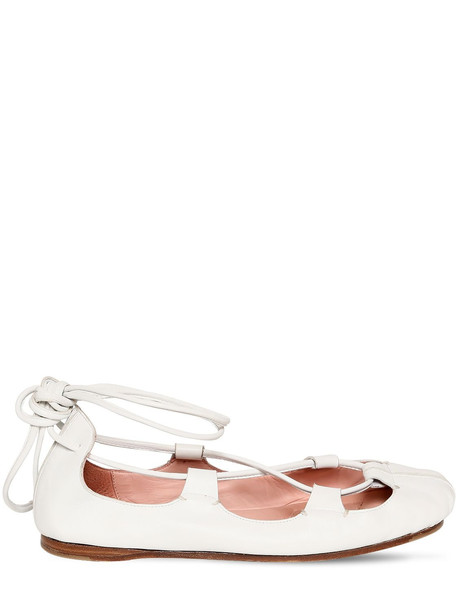 LANVIN 10mm Leather Ballerina Flats in white