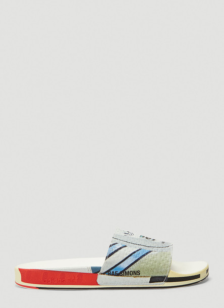 adidas by Raf Simons Adilette Luxe Slides in White size UK - 04