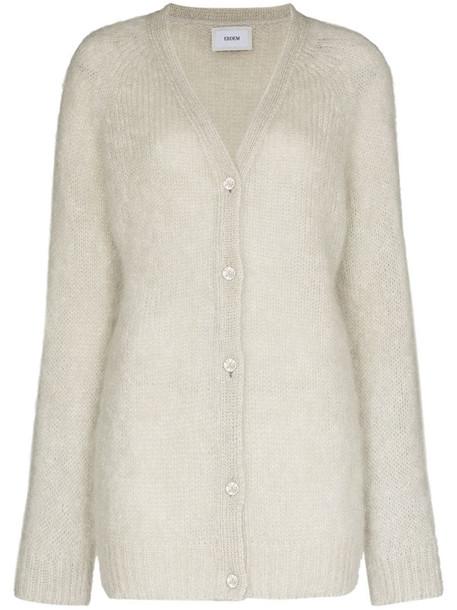 Erdem Marcilly crystal-button V-neck cardigan in grey
