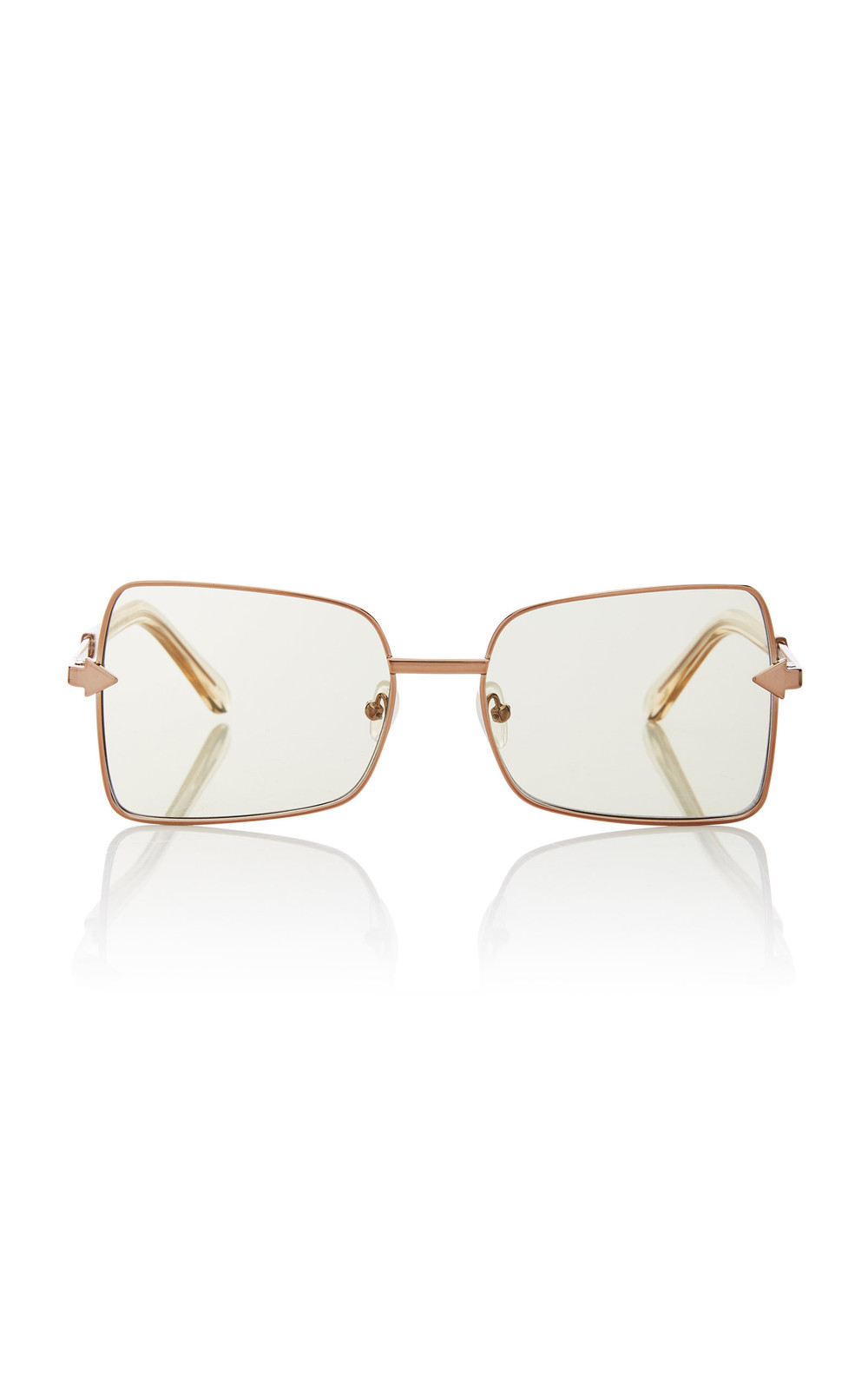 Karen Walker Wisdom Square-Frame Gold-Tone Sunglasses in green