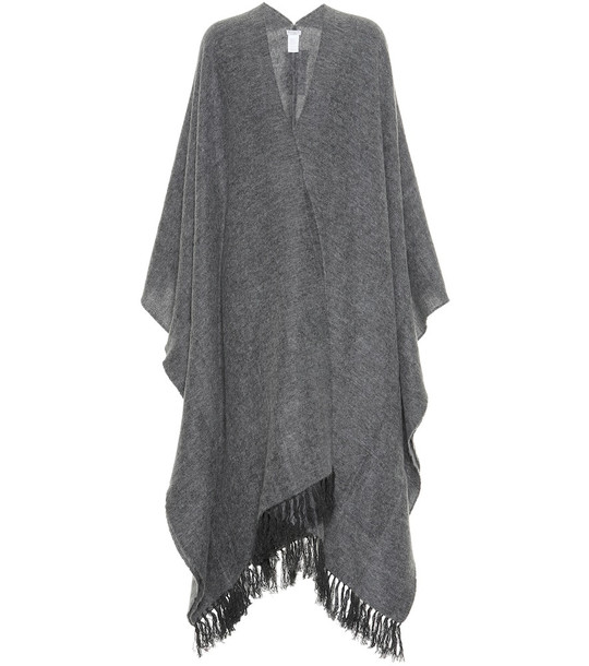 Brunello Cucinelli Cashmere and mohair-blend cape in grey