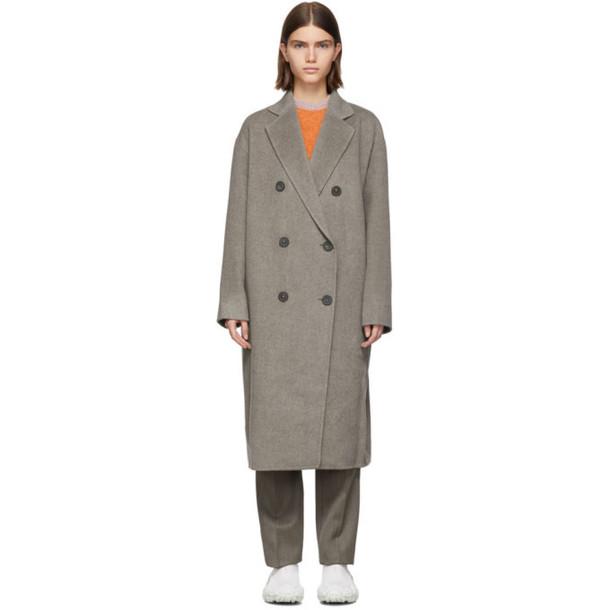 Acne Studios Grey Wool Odethe Double-Breasted Coat