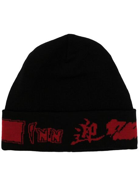 Y's logo intarsia-knit beanie hat - Black