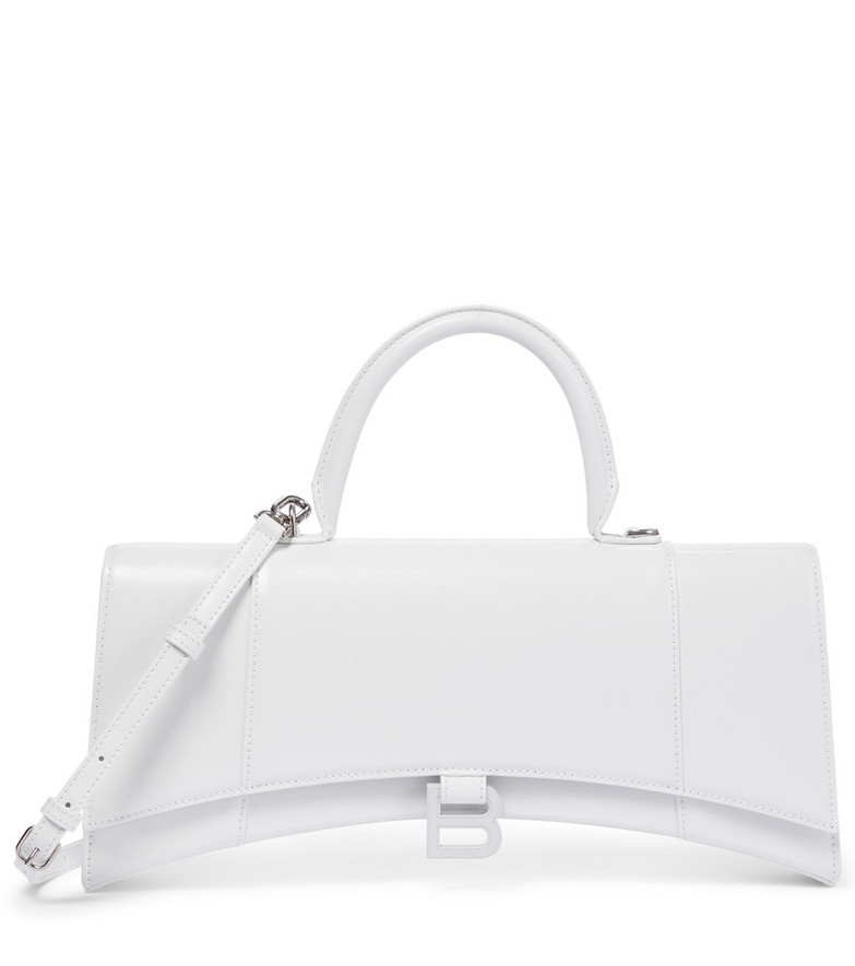 Balenciaga Hourglass Stretch leather shoulder bag in white