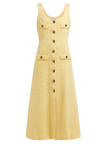 Alessandra Rich - Buttoned Cotton Blend Tweed Dress - Womens - Yellow