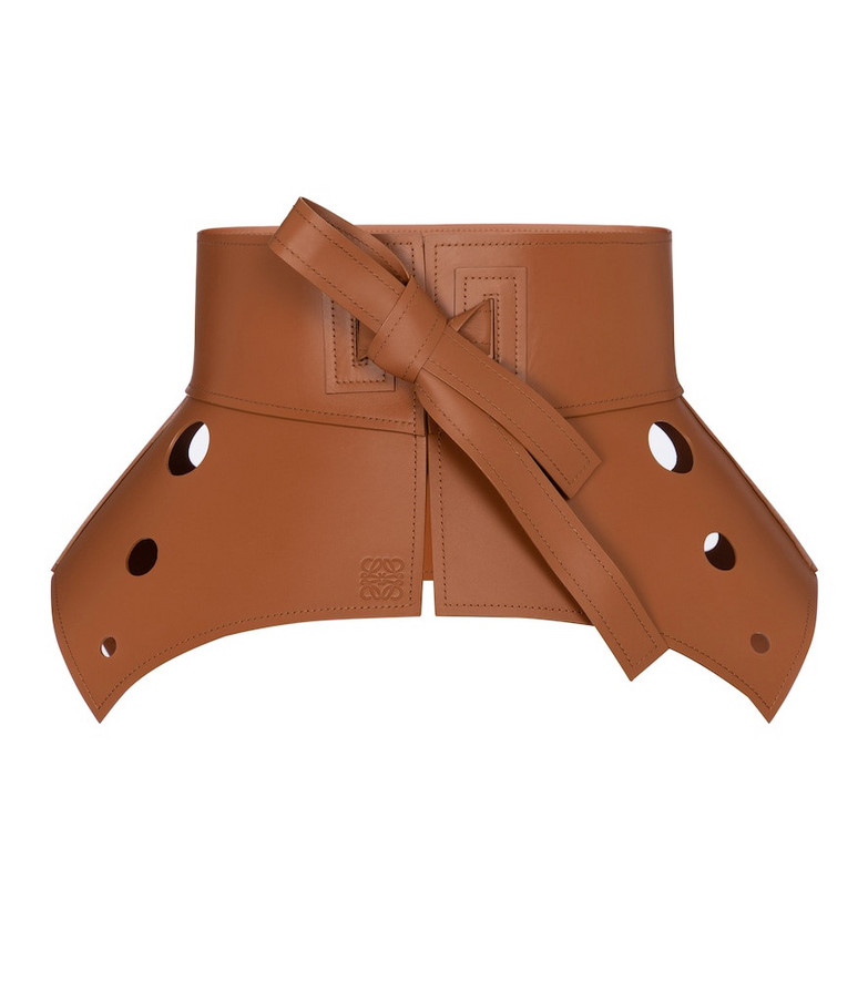 Loewe Obi cut-out leather corset belt in brown