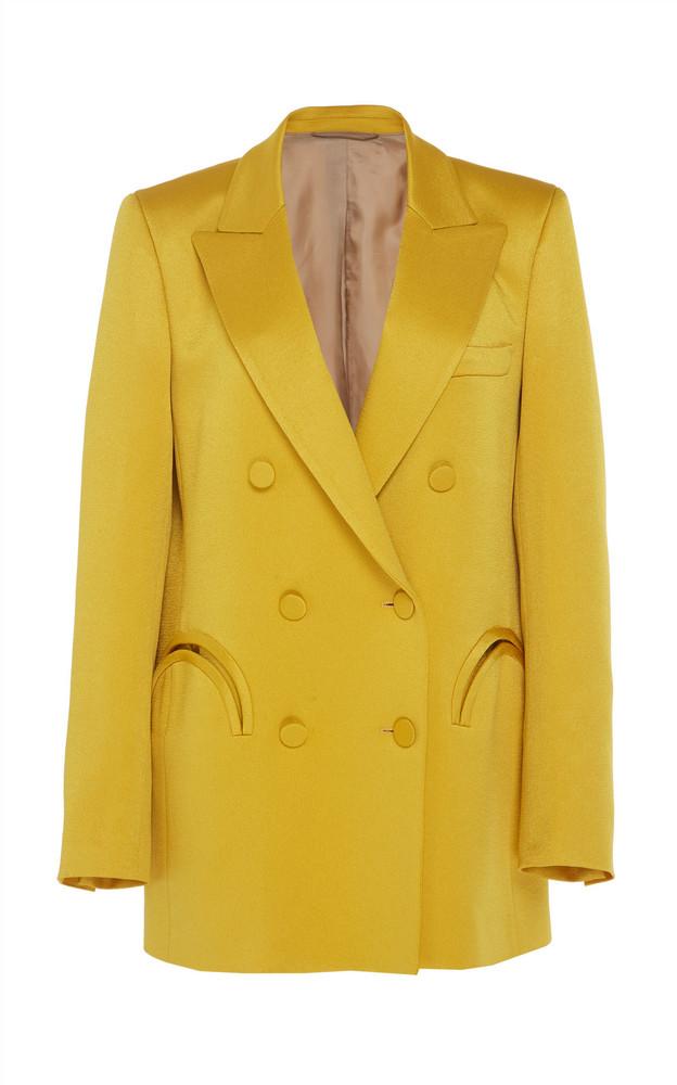 Blazé Milano Novalis Double Breasted Satin Blazer Size: 0 in yellow