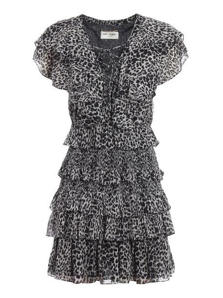 Saint Laurent Leo Dress in black / grey