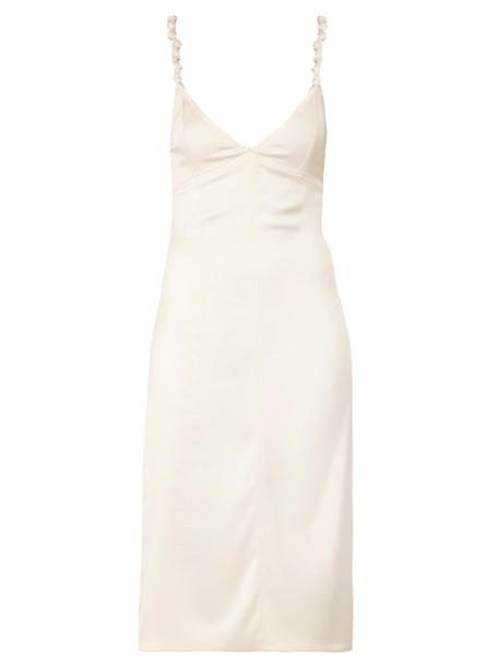 Bottega Veneta - Knotted Strap Satin Pencil Dress - Womens - Ivory