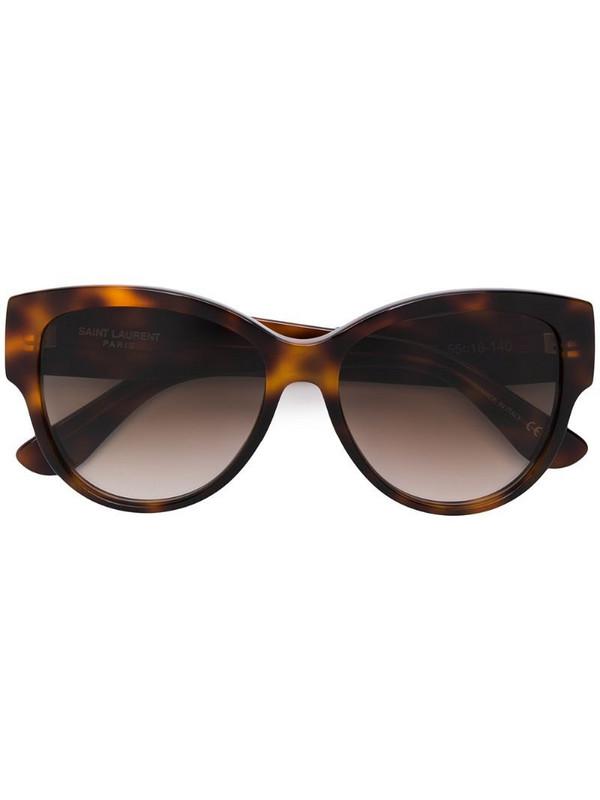 Saint Laurent Eyewear tortoiseshell round sunglasses in brown