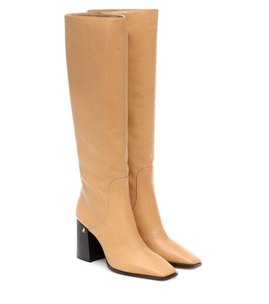 Jimmy Choo Brionne 85 leather boots in beige
