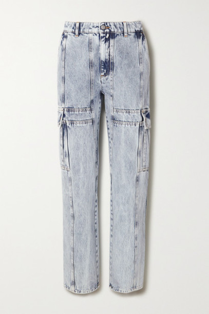 MM6 Maison Margiela - Acid-wash High-rise Straight-leg Jeans - Light denim