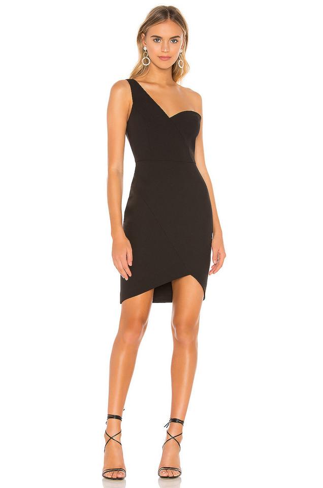BCBGMAXAZRIA Eve One Shoulder Dress in black
