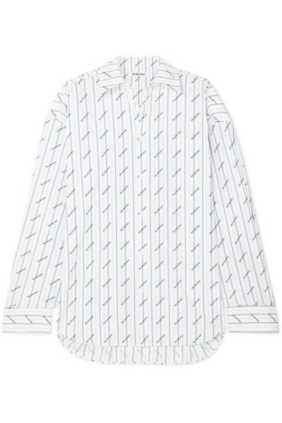 Balenciaga - Oversized Printed Cotton-poplin Shirt - White