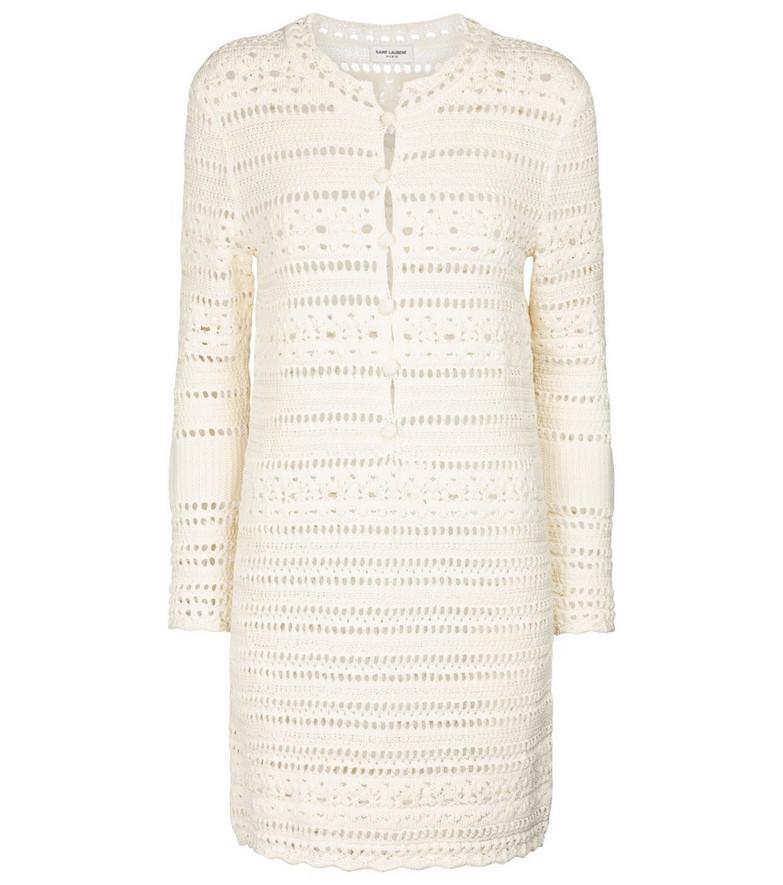 Saint Laurent Pointelle cotton crochet minidress in white