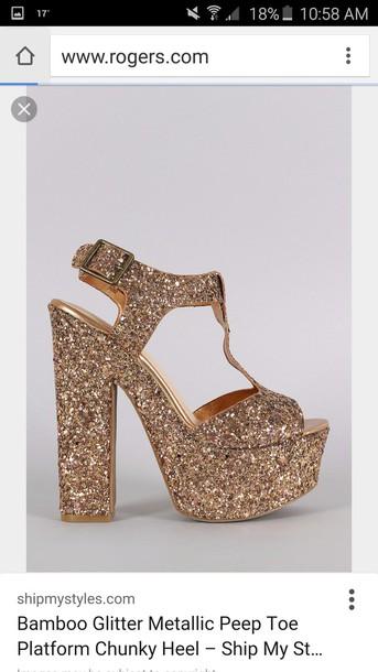 shoes metallic shoes glitter chunky heels platform shoes