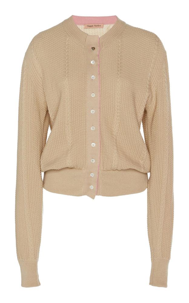 Maggie Marilyn Pearls Of Wisdom Wool-Blend Cardigan Size: M in neutral