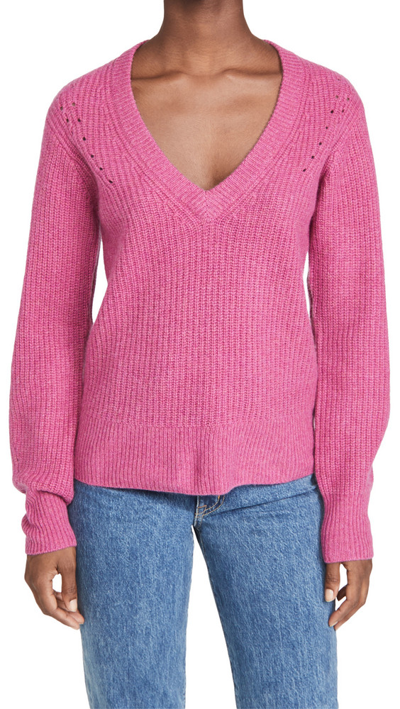 PAIGE Kamila Cashmere Sweater in violet / red